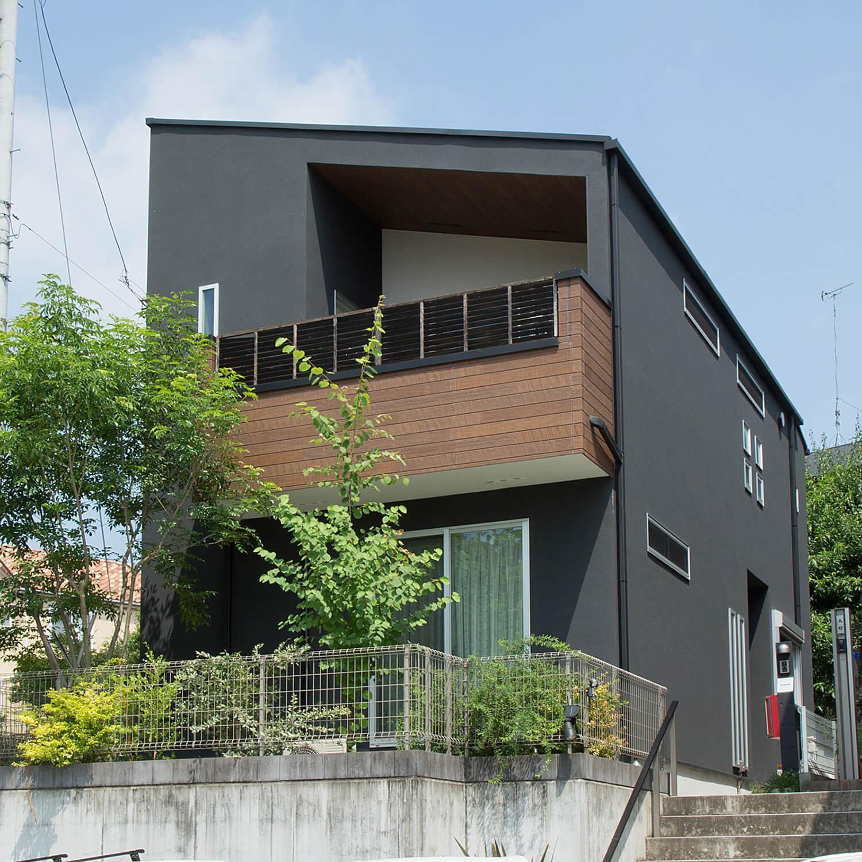 高台からの眺めを楽しむ家